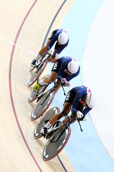 #RIO2016 Team United States competes in the Women's Team Pursuit qualifying on Day 6 of the 2016 Rio Olympics at Rio Olympic Velodrome on August 12 2016 in...