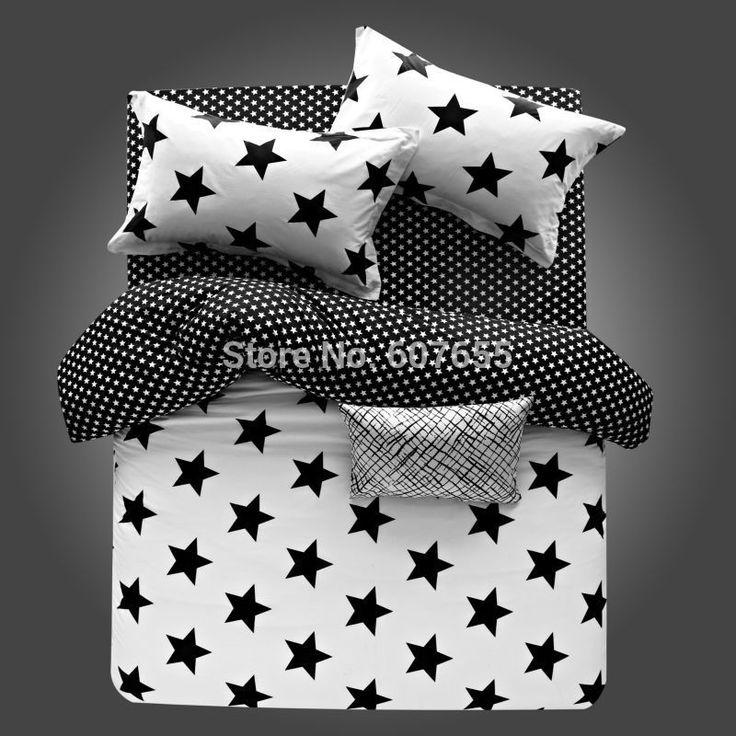 Venta caliente sistema del lecho 4pcs Negro raya blanca de la tela escocesa Diseño de las estrellas 100 % Sábana funda nórdica de algodón funda de almohada 4pcs ropa de cama / set en Conjuntos de Ropa de Cama de Casa y Jardín en AliExpress.com | Alibaba Group