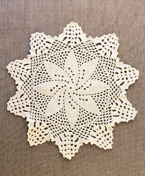 Vintage hand crocheted doily in off white cotton at MrsBathsDrawers