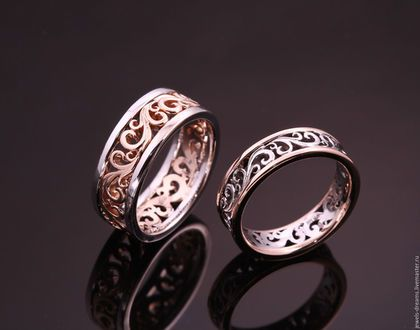 Купить или заказать Обручальные кольца 'Волнительные' в интернет-магазине на Ярмарке Мастеров. Обручальные кольца из двух цветов золота на заказ. Цвета золота по желанию - красное, желтое, белое. На фото одно обручальное кольцо имеет белую серединку и красные ранты, другое - наоборот, красную серединку и белые ранты. Каждое наше изделие имеет пробу. ВНИМАНИЕ! УКАЗАНА ТОЛЬКО ЦЕНА ЗА РАБОТУ! Вы можете принести своё золото на обмен или заказать из нашего по курсу на день заказа.