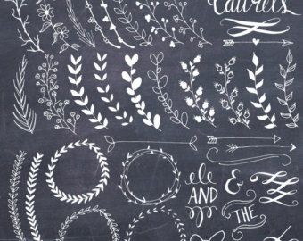 Chalkboard Wreaths Bows and Banners Clip Art // von thePENandBRUSH
