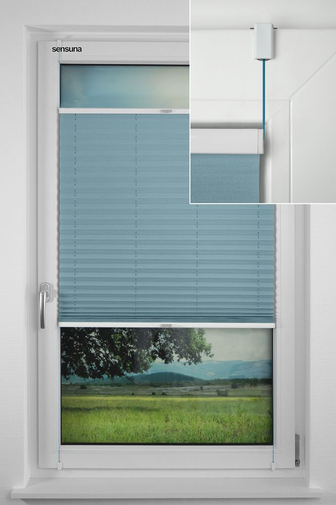 sensuna® Plissee mit dem neuen sensuna® Clip - Montage ohne Bohren    the new sensuna® Clip for fitting pleated blinds without drilling