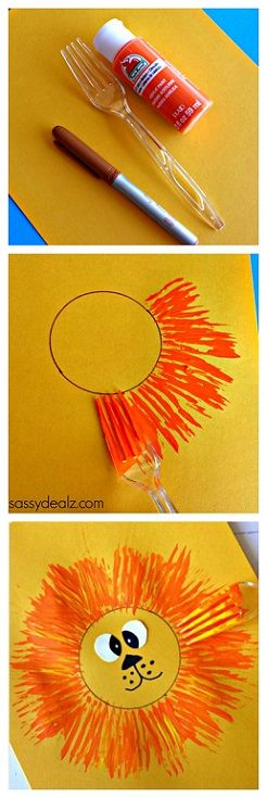 Lion Craft for Kids to make using a fork! #Zoo art project | CraftyMorning.com