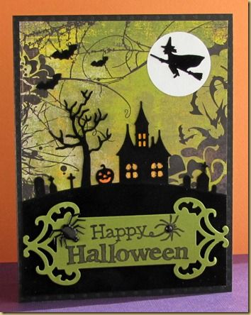 Haunted House Silhouette/background Paper/witch On Moon · Halloween HouseHalloween  CardsFall HalloweenHappy ...