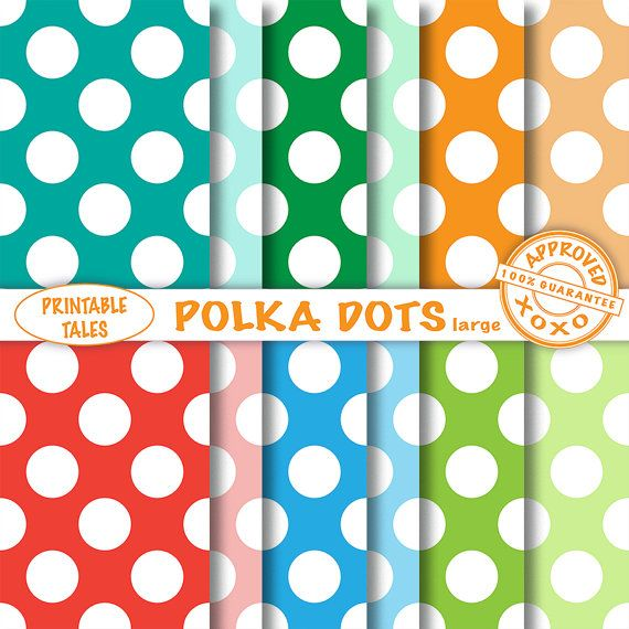 Polka Dot Paper, Scrapbook paper, Digital Paper, Paper Craft, Red polka dot Blue polka dot Orange polka dot Commercial Use, Seamless pattern