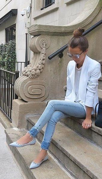 White blazer + baby blues.