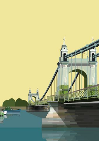 Hammersmith Bridge and Boats vector graphic - illustrated by Emma Sivell /SIVELLINK