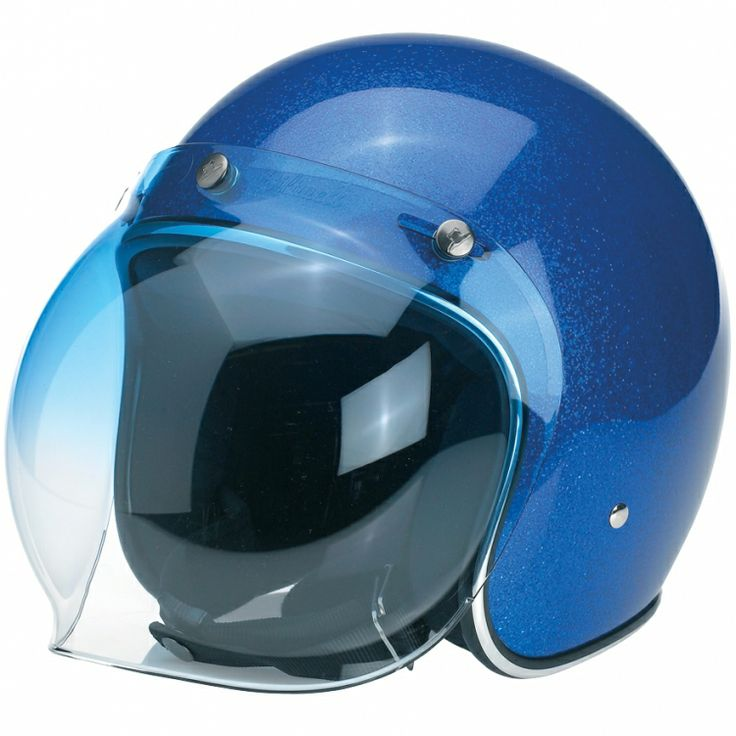 """Biltwell Bubble Shield - Blue Gradient  Injection-molded polycarbonate shields in solid, clear and mirror gradient finishes. Fits stock 3-snap visor configuration on most novelty and DOT helmets. Accept no substitutes: make sure the next bubble shield you own features the """"Biltwell"""" script logo. $24.95"""