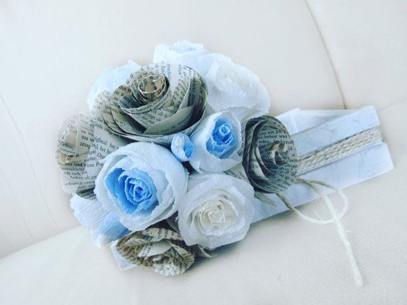 Crepe Paper Blue Bouquet paper flowers paper roses by moniaflowers