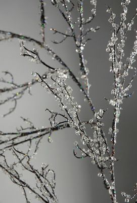 Make Them Wonder: How to make Iced Branches. Using Elmer spray glue, and Crystal clear fil for vases.
