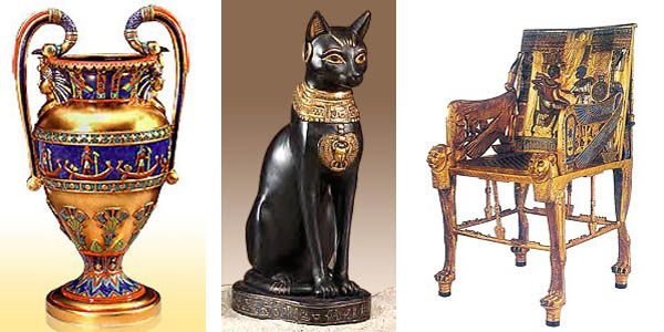 Egyptian Sculptures And Vases Create Unique Room Decor And