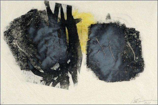 Ahti Lavonen: Muotoja , 1960, puupiirros, 37x55,5 cm