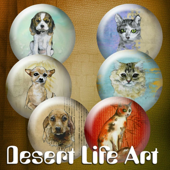 DOGS & CATS  Digital Download  Stickers Pendants by DesertLifeArt, $4.50
