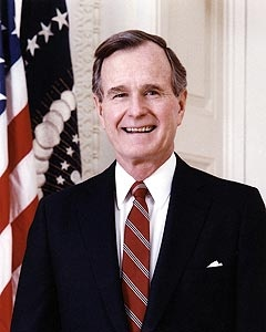 Official White House portrait photo of 41st President George H.W. Bush, taken in the Oval Office of the White House, Washington, D.C.  Bush served as president 1989-1993.