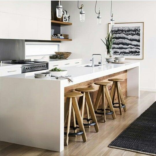 Gorgeous white kitchen with timber and dark grey/black highlights.
