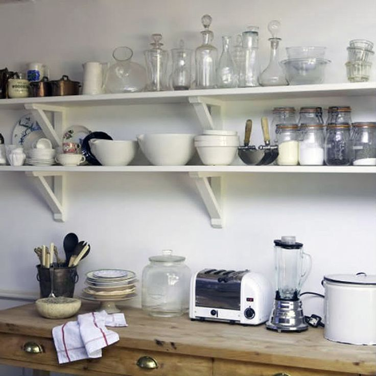 White Open Kitchen Shelving