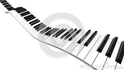 Piano keyboard sine curve on black level.
