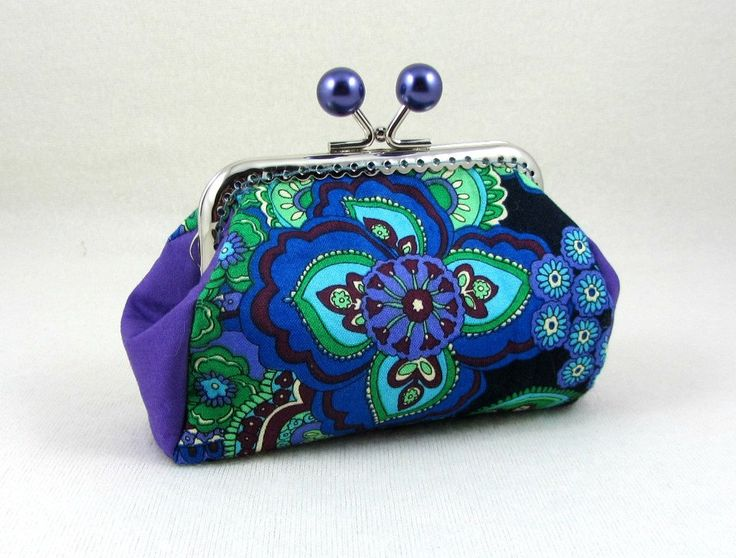 Coin purse, cotton clasp purse, handmade pouch, small clutch , change purse, purple kiss lock purse, jewelry pouch by JRsbags on Etsy