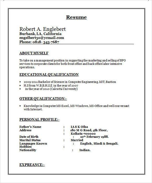 Pin By Rskhisarkar On Resume Format For Freshers Sample Resume Format Resume Format In Word Job Resume Format