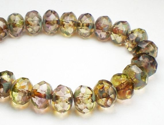 Picasso Czech Glass Beads 6 x 8mm Jonquil Yellow by royalmetals