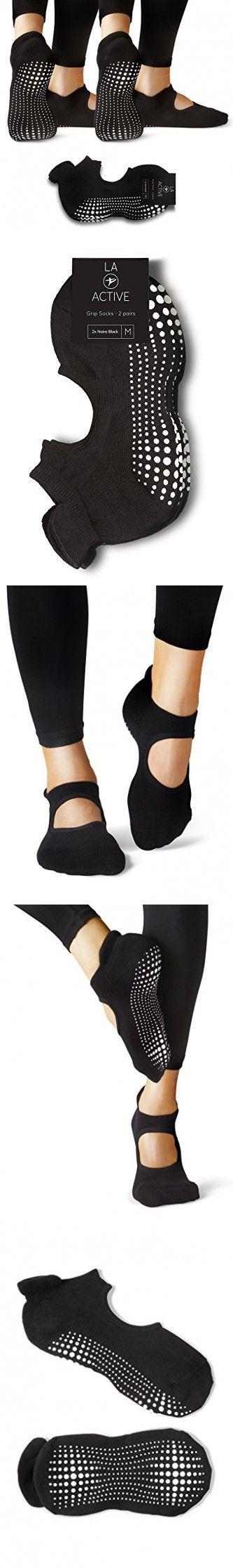 LA Active Grip Socks - 2 Pairs - Yoga Pilates Barre Ballet Non Slip (Noire Black and Noire Black)