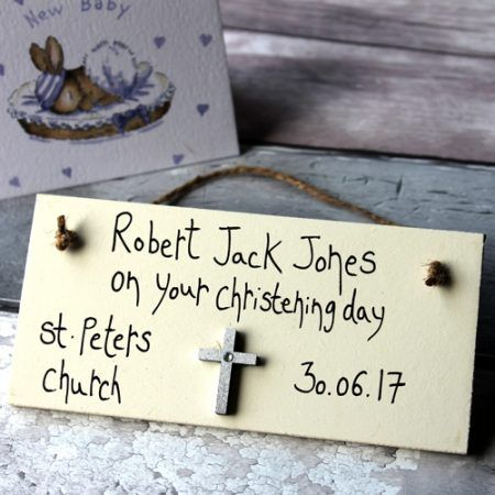 Unusual Christening Gifts - Beautiful Handmade Christening Gifts For Girls Sign - Personalised Christening presents with your own name , date and place of christening. Change it to Naming Day or Baptism etc. handmade wooden gift plaque sign.