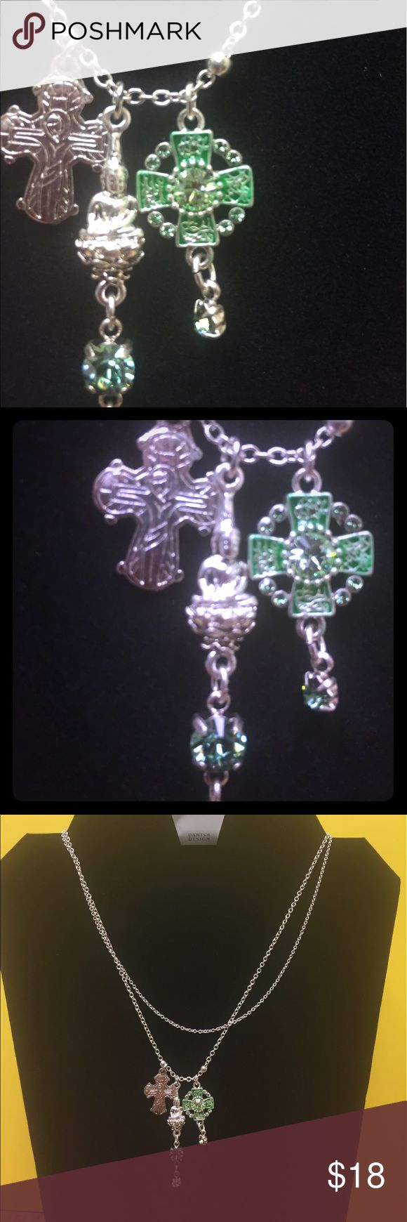 NWT Triple Religion Charm Necklace by Pilgrim This is a triple religion Charm Necklace. The green is absolutely gorgeous. Double chain sets this necklace nicely. Pilgrim Jewelry Necklaces