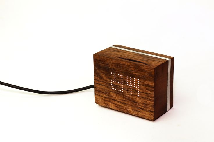 Aliimum, reclaimed wood and LED bed side clock. Driven by Arduino. #arduino #led #leds #wood #handmade #reclaimed #electronics