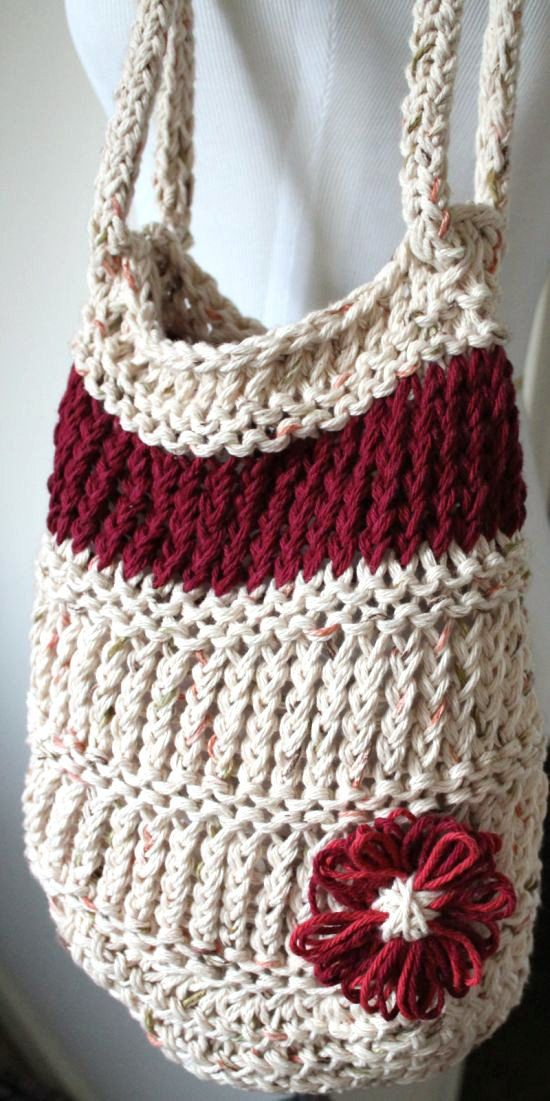 Loom Knit Day Bag  Neutral/Burgundy Tote with by sparkleknit, $25.00