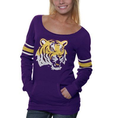 LSU Tigers Ladies Glimmer Boatneck Rhinestone Sweatshirt - Purple