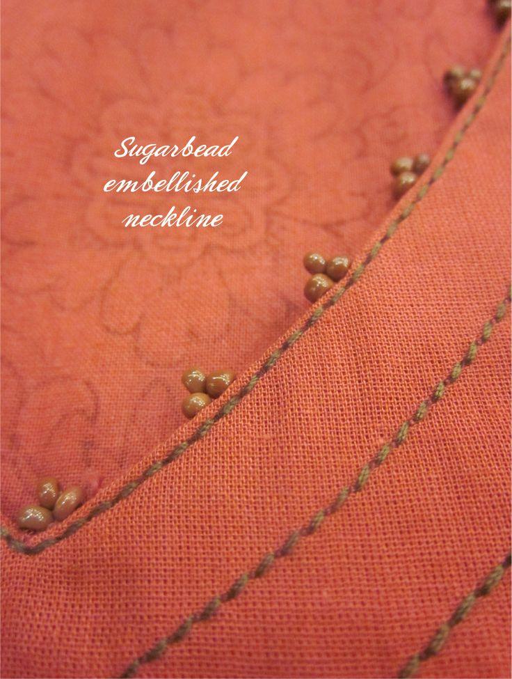 Sugarbead embellished neckline #Sugarbeads #Neckline #KnowYourMantra