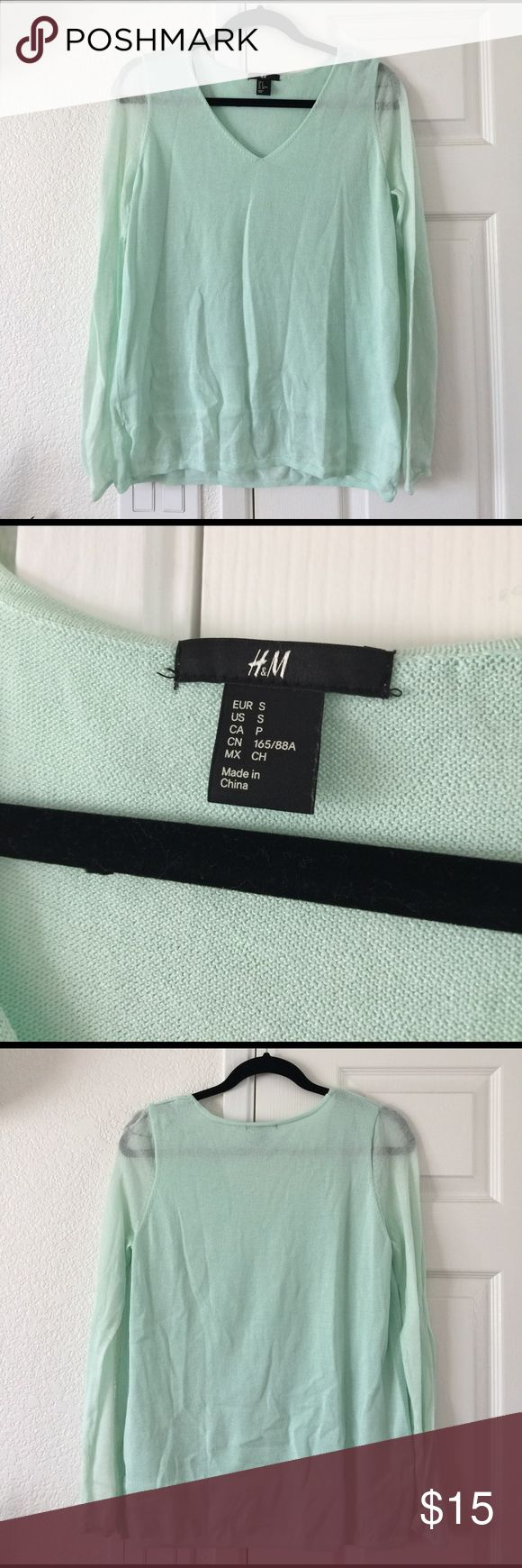 H&M spring collection mint blouse H&M spring collection mint blouse. Size small. Sheer sleeves as shown. V-neck cut. Lined inside. Perfect for spring going into summer. In excellent condition. Worn once. 50% polyester 50% viscose. H&M Tops Blouses