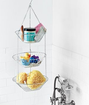 17 best ideas about hanging fruit baskets on pinterest wire fruit basket fruit kitchen decor for Hanging baskets for bathroom storage