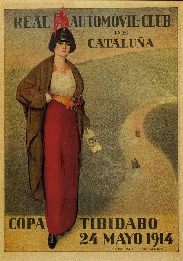 Cartel del Real Automóvil Club de Cataluña, Copa Tibidabo, Ramón Casas, 1914.