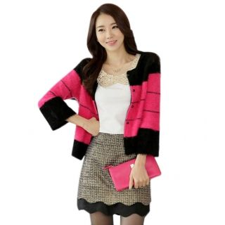 Korean Style Loose Colors Assorted Silky Cardigan Sweater Rose Red & Black Free Size