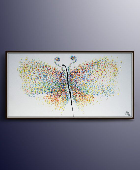 Sous la photo principale de la droite - cliquez pour zoom   SUR CETTE PEINTURE Un beau papillon peint dans le style Art Nouveau, qui se caractérise par le mouvement circulaire et le flux de couleurs. Calmante des couleurs pastel, une composition de peinture qui est complète et symétrique et délicat et élégant l'éclaboussure noire qui crée l'opposition sur la toile blanche et donne à la pièce une dimension abstraite, incontrôlée tous apportent à votre salon d'art qui est réel et moderne, art…