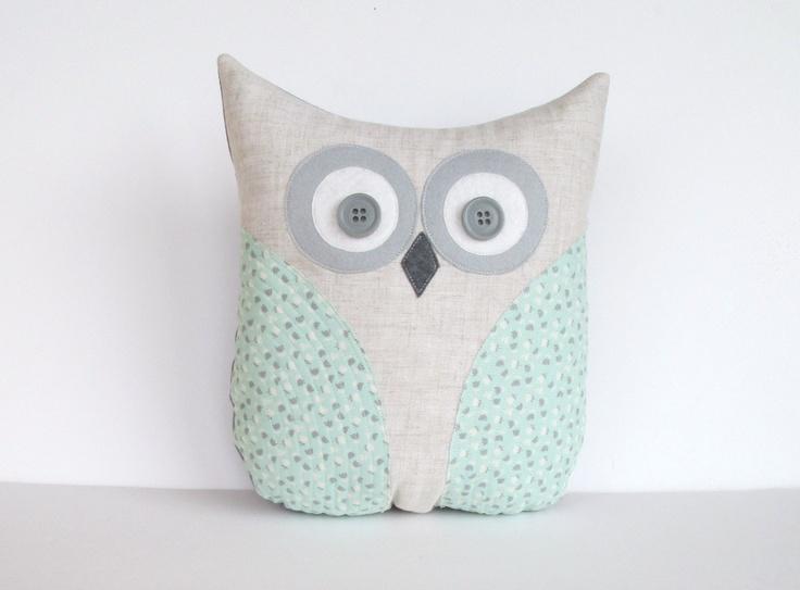 pastel owl pillow, decorative mint green and grey nursery decor, seafoam home decoration, kids plush owl, whimsysweetwhimsy. $36.00, via Etsy.