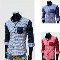 Casual algodón hombres delgado ajuste elegante cheque cuadros Tee Shirts