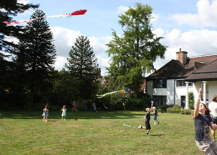 Luckily a lovely day to fly our just-made kites in the garden