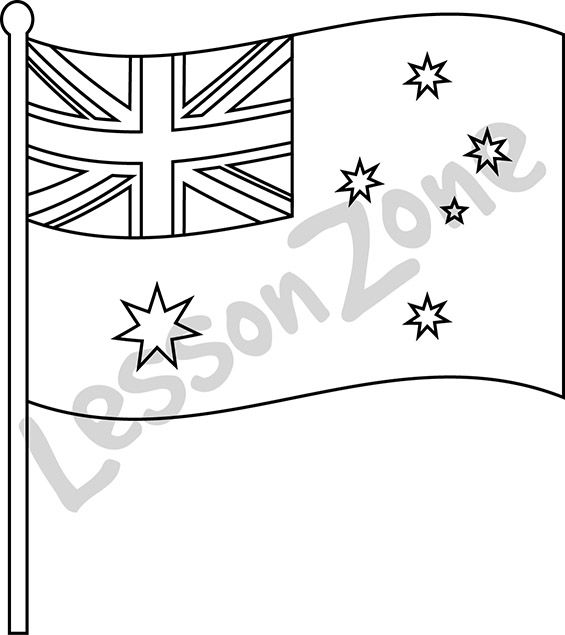 Celebrate our nation with this black and white flag illustration.   This illustration is available in PNG format at 300 DPI resolution with a transparent background for classroom use. Itn is also available in colour.  To download this FREE illustration, visit lessonzone.com.au