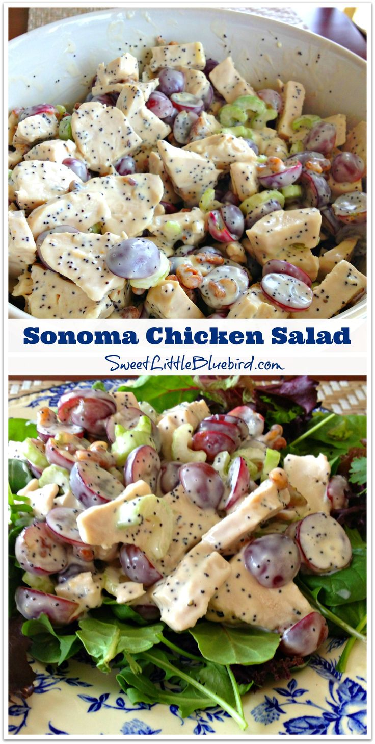 Sonoma Chicken Salad - Whole Foods' Recipe - {loaded with tender chicken breast, red seedless grapes, crunchy pecans, crisp celery, tossed in a wonderful mayonnaise, honey, apple cider vinegar, poppy seed dressing} SO GOOD!  Save $ and make it yourself!