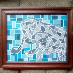 Paint-chip mosaic animals, great idea to decorate a kids room, I'm assuming just draw an outline of an animal and go to town.