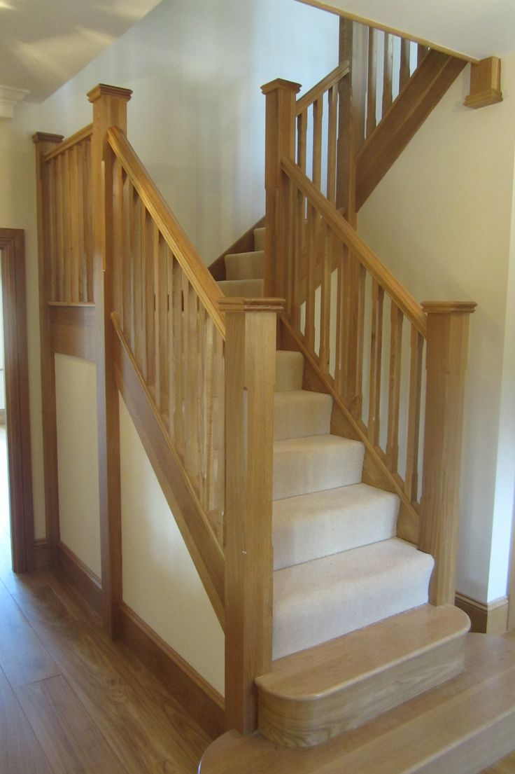 carpeted stairs | Stairway design, Handrail design, Timber ...