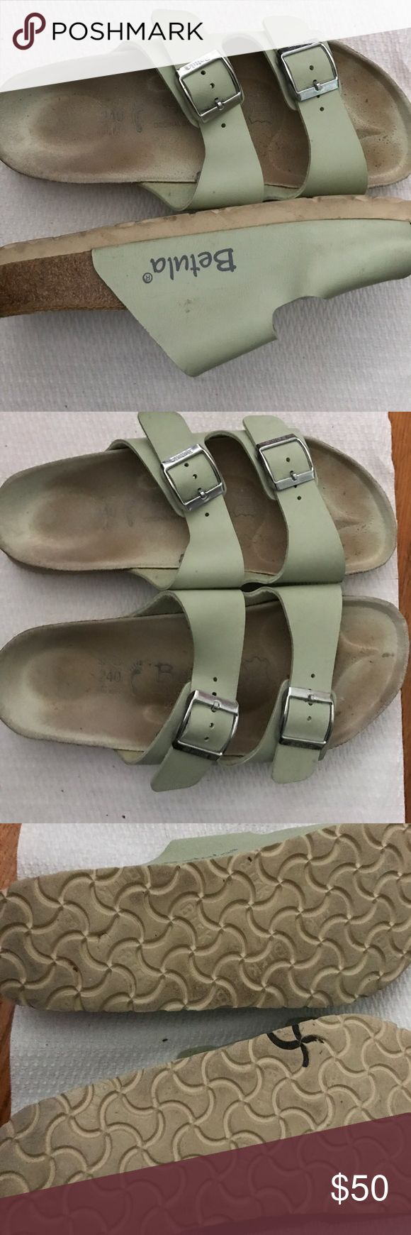 L6/M4 mint green Betula sandals Birkenstock A beautiful minty green two straps with buckles. Smoke free home. Betula/Birkenstock Shoes Sandals