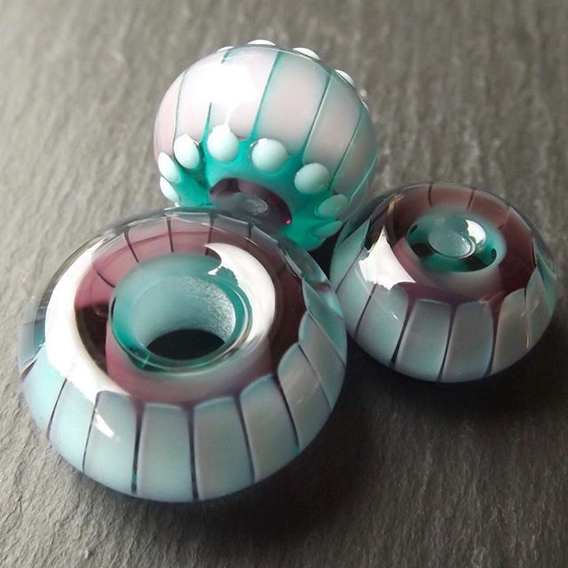 layered and encased striped beads beads by laura