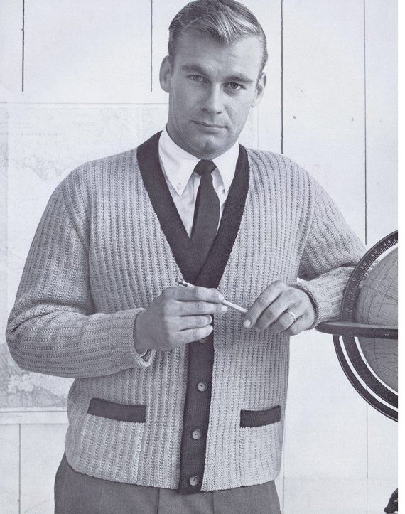 ed6f4398d481 PDF of Mens Button Down Accent Color Cardigan with Pockets Knitting Pattern