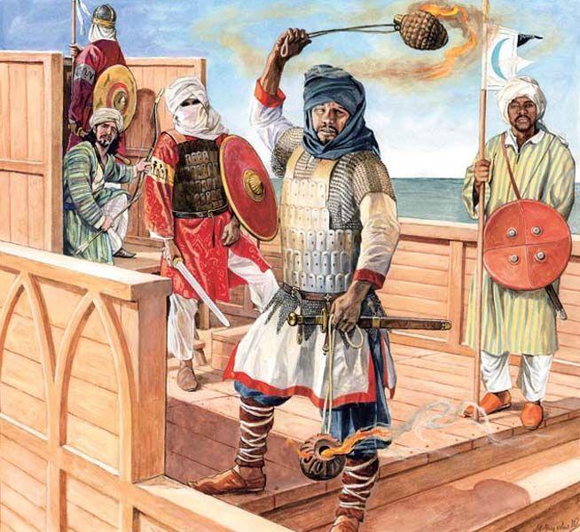 600-699 Árabes embarcados, lanzando vasijas incendiarias by Marek Szyszko