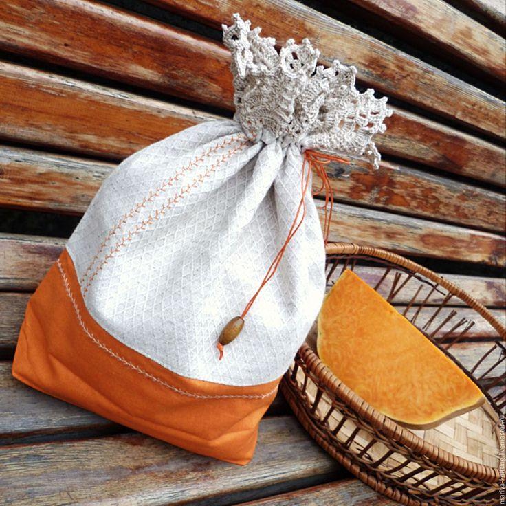 Купить Дары осени. Мешок для хлеба, выпечки, сухарей - оранжевый, мешок, мешок для хлеба