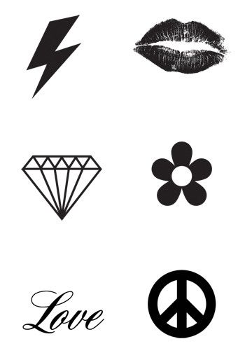 Miniature Black Tattoos - 6 Tattoos Per Sheet For a more subtle or discrete look try our Mini Black Temporary Tattoos. You get 6 symbols or icon tattoos per sheet for a total of 72 individual Mini Tat