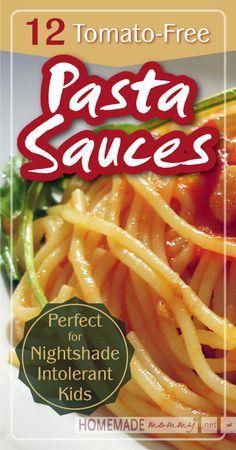 12 Tomato-Free Pasta Sauces | www.homemademommy.net #recipe #allergyfree #kidfriendly